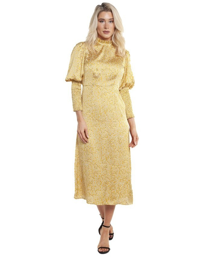 Never Fully Dressed Gold Ditsy Print Midi Dress