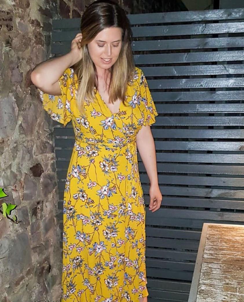 Seven Wonders Yellow Floral Print Wrap Dress
