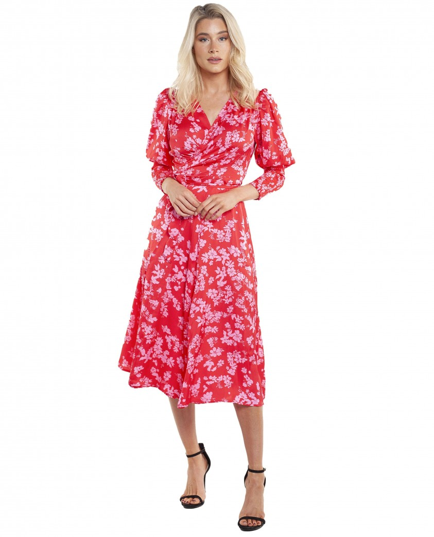Never Fully Dressed Red/Pink Print Victoria Dress