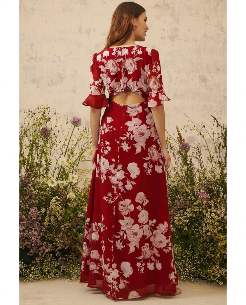 Hope & Ivy Red Helene Open Back Dress
