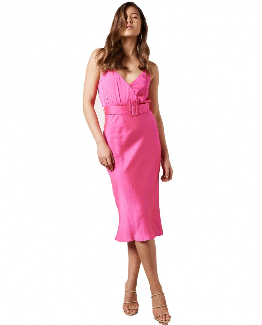 Bardot Pink Shock Raegan Midi Dress
