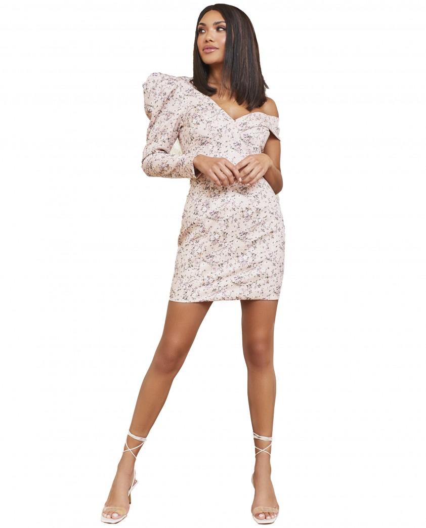 Lavish Alice Beige Floral Statement Shoulder Mini Dress