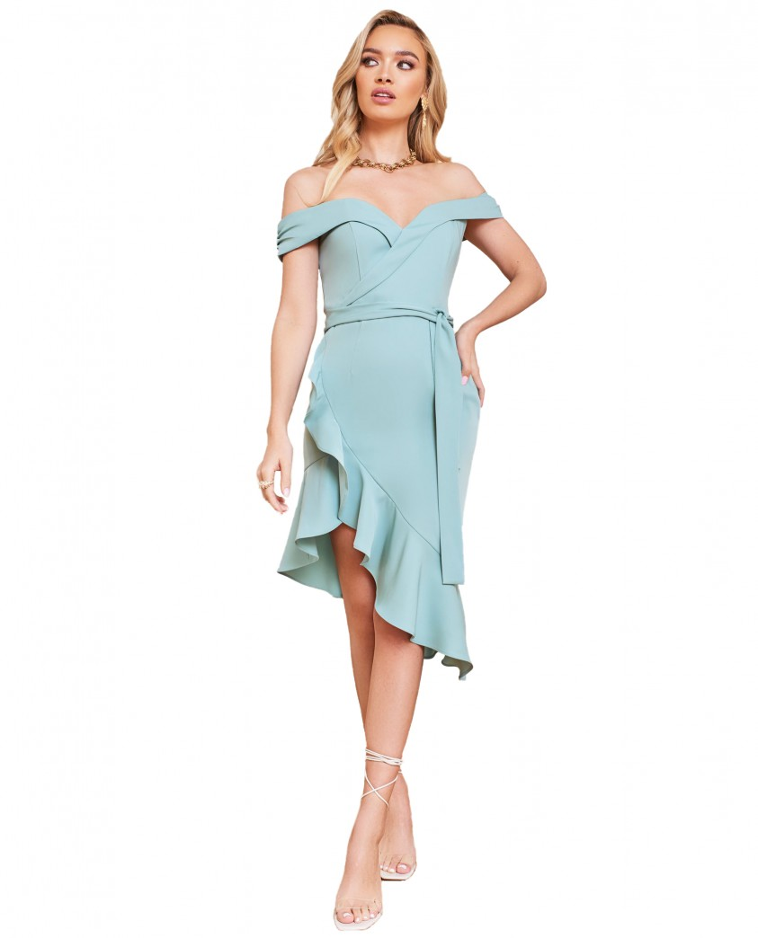 Lavish Alice Sage Green Asymmetric Bardot Wrap Ruffle Dress