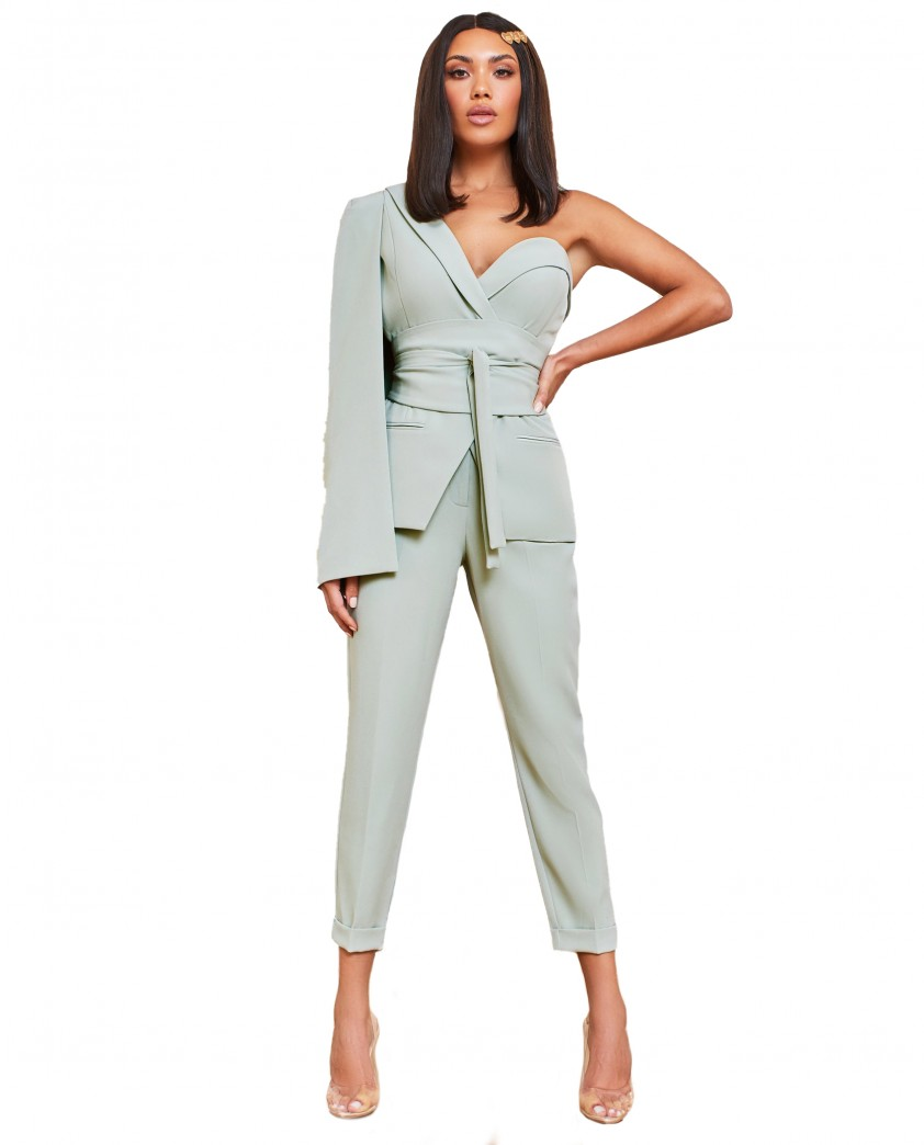 Lavish Alice Sage Green Obi Belted Asymmetric Cape Blazer With Trousers