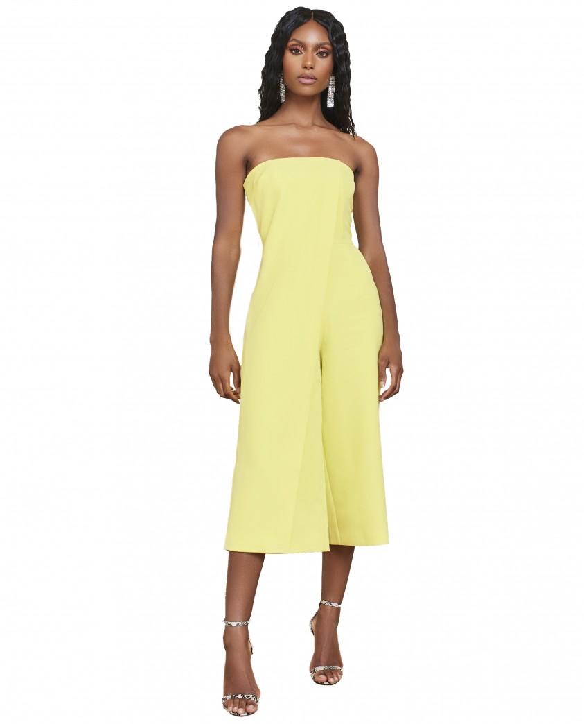 Lavish Alice Yellow Lime Bandeau Culotte Jumpsuit