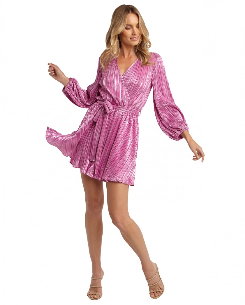 Bardot Pink Shine Bellissa Pleat Dress