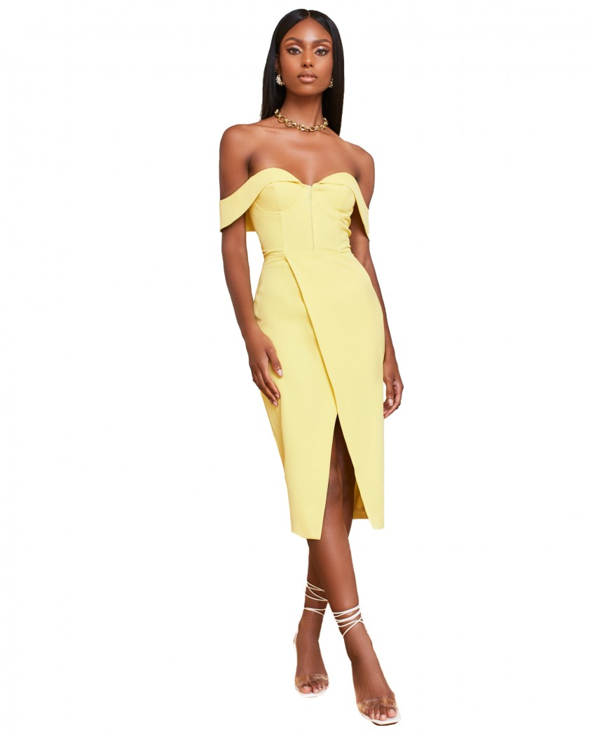 Lavish Alice Lemon Bustier Corset Wrap Midi Dress