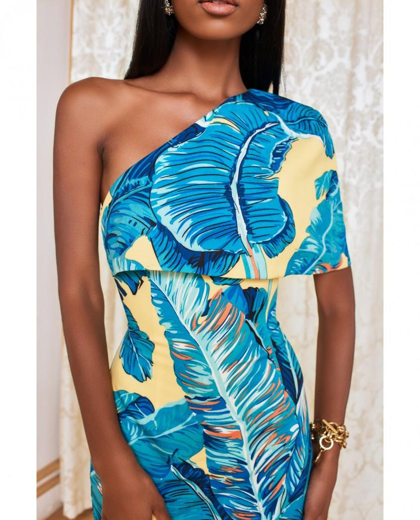 Lavish Alice Yellow Palm One Shoulder Cape Mini Dress