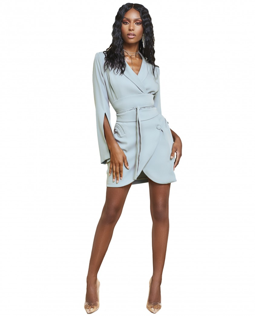 Lavish Alice Sage Green Obi Belted Blazer Mini Dress