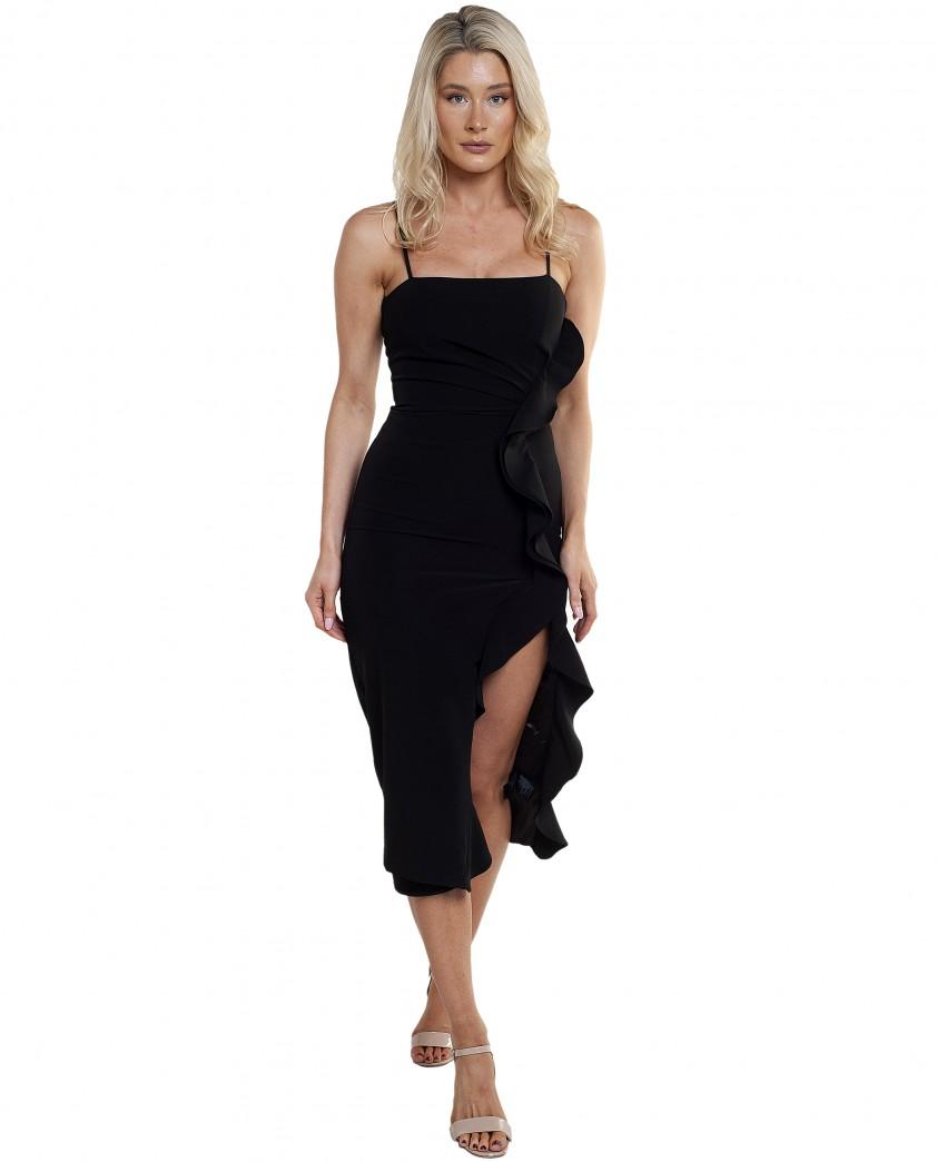 Bardot Black Midi Ruffle Dress