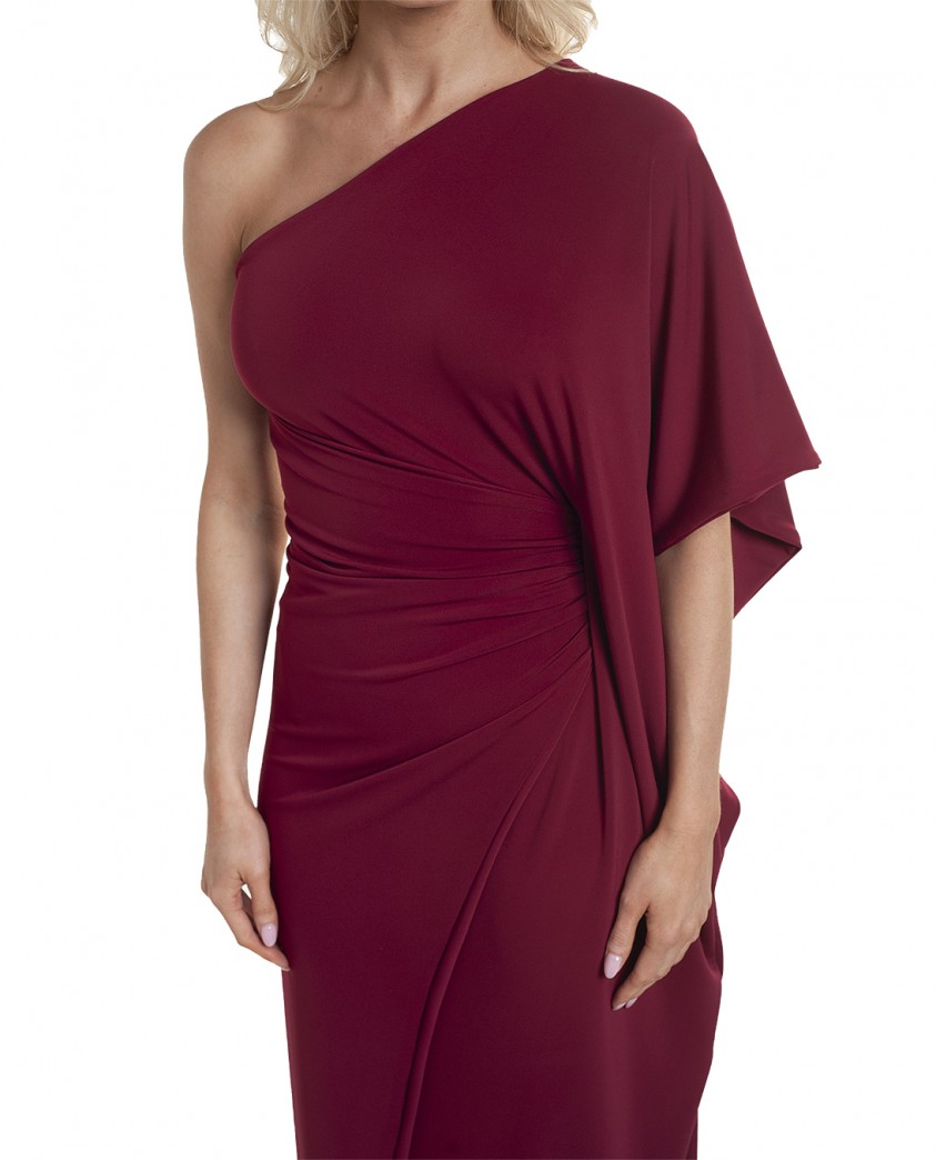 Gorgeous Couture Magenta One Shoulder Maxi Dress