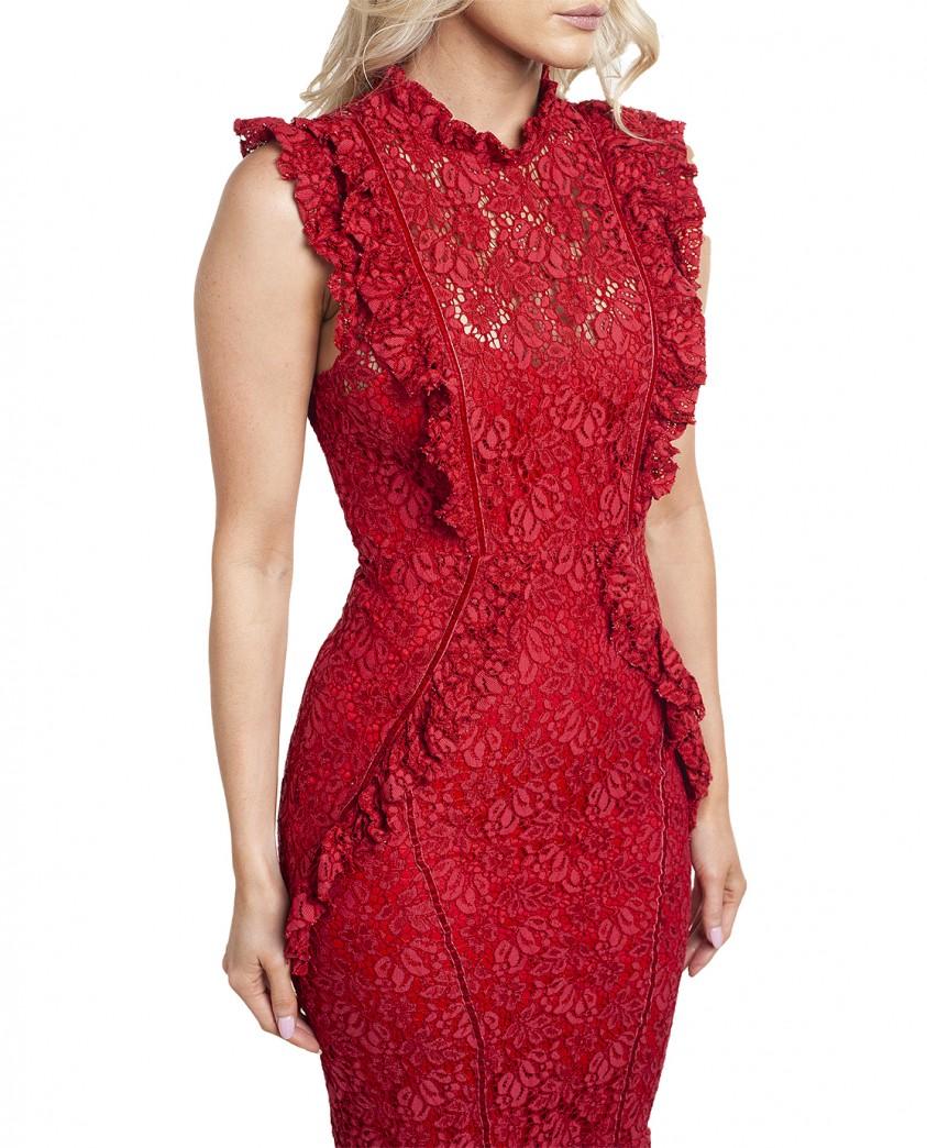 Hope & Ivy Red Ruffle Lace Midi Dress