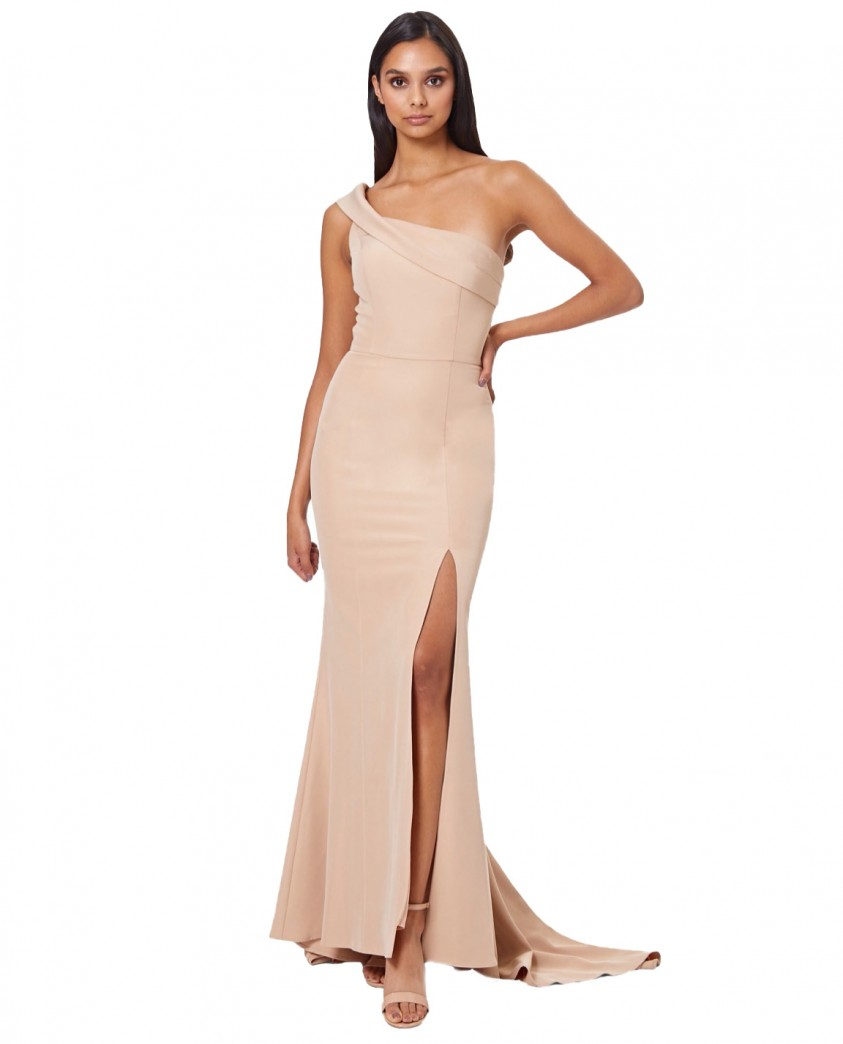 Jarlo Nude Sheridan One Shoulder Maxi