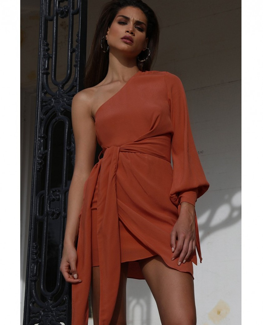 Prem The Label Burnt One Shoulder Mini Dress