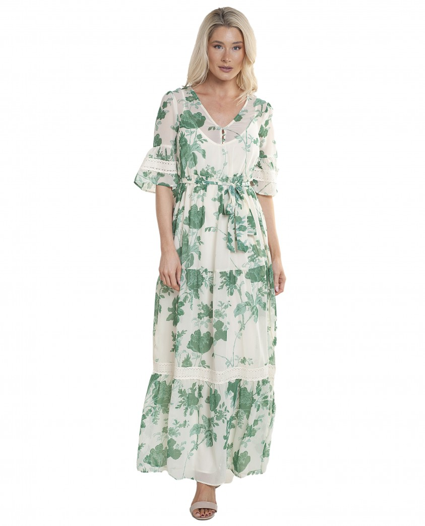 Hope & Ivy Bell Sleeve Maxi Dress With Tie Waist And Floral Print