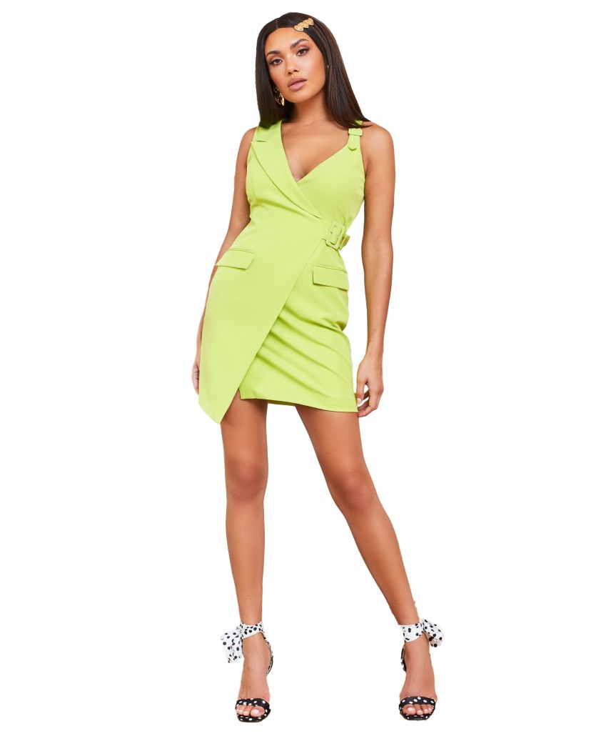 Lavish Alice Lime Buckle Detail Mini Blazer Dress