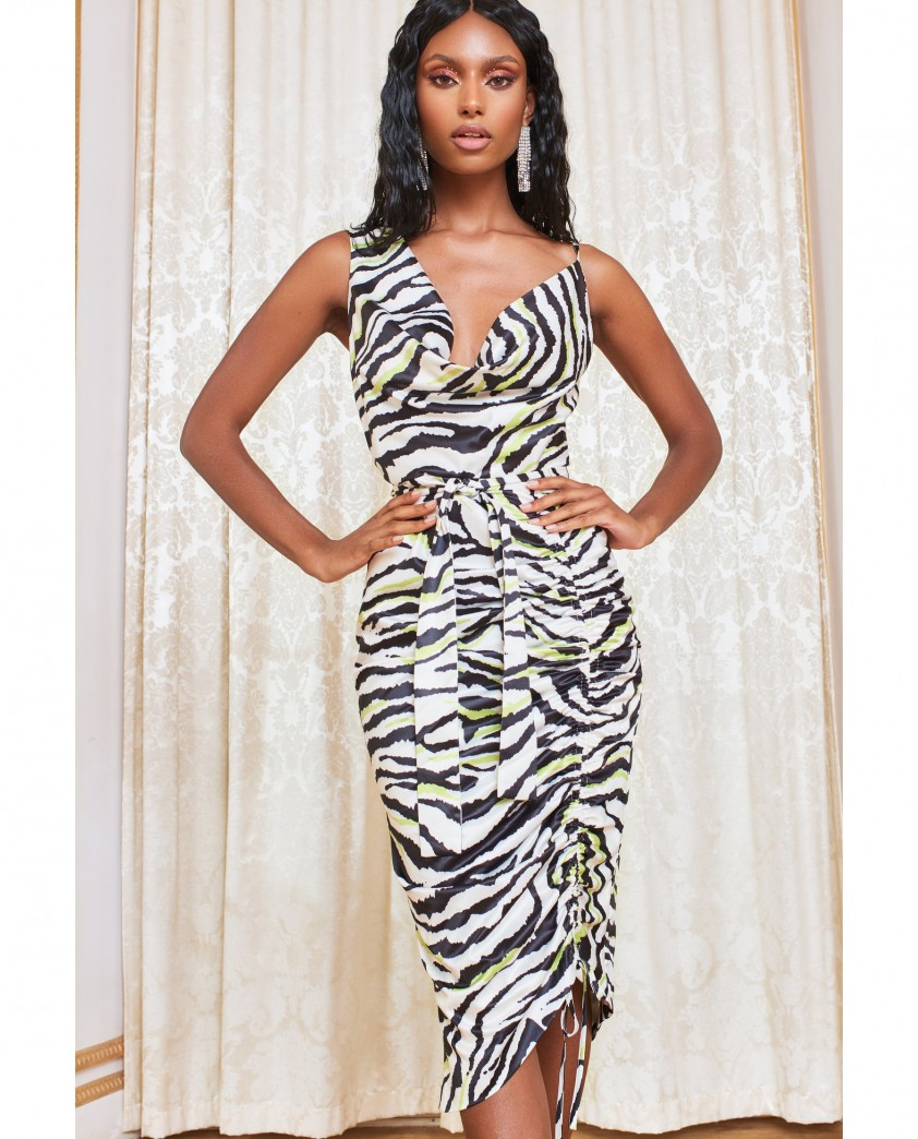 Lavish Alice Zebra Cowl Neck Satin Cami Dress